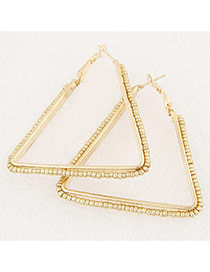 Fashion Gold Color Beads Weaving Decorated Triangle Shape Design Alloy Korean Earrings
