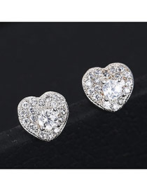 Sweet Silver Color Heart Shape Decorated Simple Design Cuprum Stud Earrings