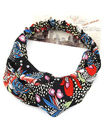 Fashion Red Flower Pattern Decorated Simple Design Rubber Band Hair band hair hoop