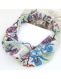 Fashion Blue Flower Pattern Simple Design Rubber Band Hair band hair hoop