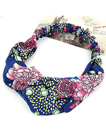 Fashion Royal Blue Flower Pattern Simple Design Rubber Band Hair band hair hoop