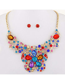 Exaggerated Multi-color Hollow Out Flower Decorated Short Chain Design
