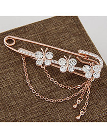 Fashion Gold Color Three Butterflies Decorated Tassel Design Alloy Korean Brooches