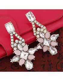 Trendy Pink Geometric Gemstone Decorated Flower Shape Design