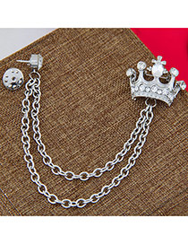 Exquisite Silver Color Diamond&chains Decorated Crown Shape Design Alloy Korean Brooches