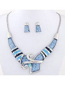 Temperament Light Blue Geometric Shape Diamond Decorated V Shape Design Alloy Jewelry Sets
