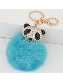 Lovely Blue Bear&fuzzy Ball Decorated Simple Design Alloy Fashion Keychain