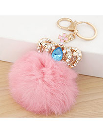 Fashion Pink Crown&fuzzy Ball Decorated Simple Design Alloy Fashion Keychain