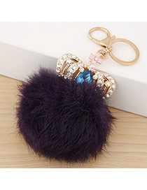 Fashion Deep Purple Crown&fuzzy Ball Decorated Simple Design Alloy Fashion Keychain