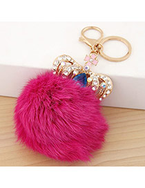 Fashion Plum Red Crown&fuzzy Ball Decorated Simple Design Alloy Fashion Keychain
