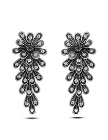 Exaggerate Silver Color Flower Decorated Multi-layer Design Alloy Stud Earrings