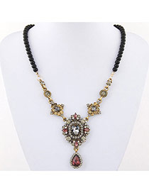 Temperament Black Waterdrop Shape Diamond Pendant Decorated Beads Chain Design Alloy Pendants
