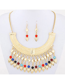 Bohemia Multi-color Gemstone&rivet Tassel Pendant Decorated Collar Design Alloy Jewelry Sets
