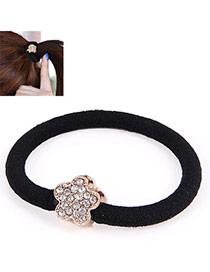 Korean Gold Color & Black Diamond Decorated Flower Design Rubber Band Hair Band Hair Hoop