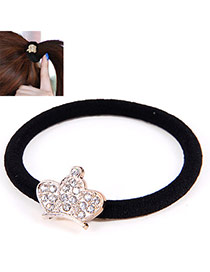 Korean Gold Color & Black Diamond Decorated Crown Shape Design Rubber Band Hair Band Hair Hoop