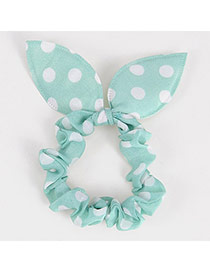 Vibrant Mint Green Big Dot Patttern Bowknot Shape Design Rubber Band Hair Band Hair Hoop