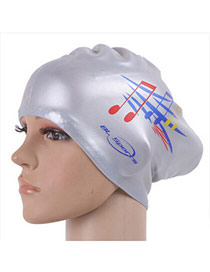 High-quality Silver Color Sheet Music Pattern Swimming Cap Design