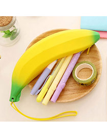 Korean Yellow Banana Shape Simple Design Silica Gel Wallet
