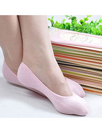 Candy Color Pink Shallow Mouth Invisible Socks Simple Design Charcoal Cotton Fashion Socks