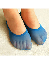 Preferential Dark Blue Shallow Mouth Invisible Socks Simple Design Velvet Fashion Socks