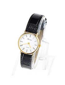 Couple Models Black & Gold Color Leather Thin Strap Simple Design