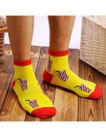 Lovely Yellow Cartoon Coke Pattern Simple Design Combed Cotton Fashion Socks