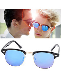 Personalized Light Blue Color Film Half-frame Design Resin Women Sunglasses