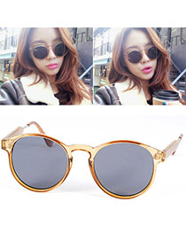 Vintage Champagne Color Thin Leg Round Frame Design Resin Women Sunglasses