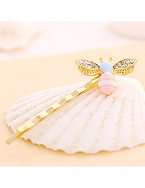 Vivid Pink Diamond Decorated Bee Shape Design Alloy Hair clip hair claw