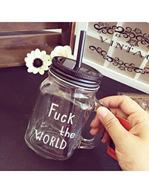 Clear Black 450ml Letter Pattern Transparent Cups Design With A Straw Glass Household goods