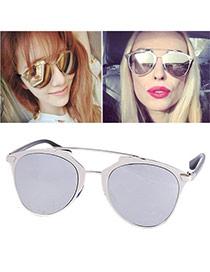 Wholesale Silver Color Thin Leg Metal Frame Design Alloy Women Sunglasses