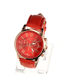 Fashion Red Roman Numerals Pattern Simple Design Alloy Ladies Watches