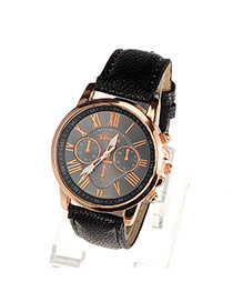 Fashion Navy Color Matching Decorated Round Dail Design Watch
