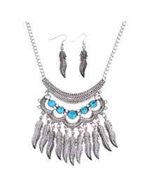 Hollow Out Silver Color Leaf Shape Decorated Tassel Design Alloy Jewelry Sets