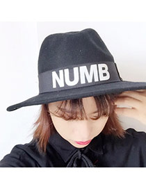 British Style  Black Letter Numb Pattern Simple Design  Woolen Beanies Others