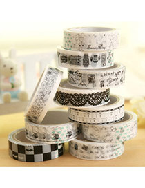 Diy Multicolor Cartoon Pattern Simple Design Pvc Stickers Tape