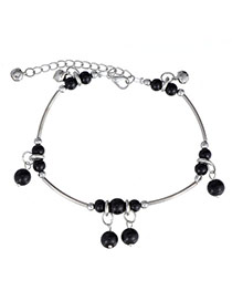 Fashion Black & Silver Color Beads Decorated Simple Design Alloy Fashion Anklets