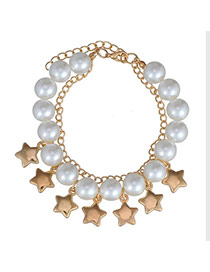 Glamour Gold Color & White Pearl Decorated Star Shape Design  Alloy Fashion Anklets