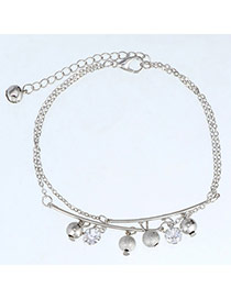 High-quality Silver Color Beads Decorated Double Layer Design  Alloy Fashion Anklets