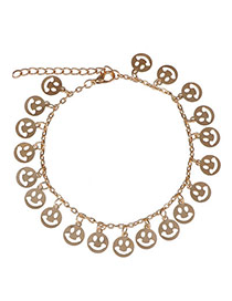Hot Sale  Gold Color Smile Shape Decorated Simple Design  Alloy Fashion Anklets
