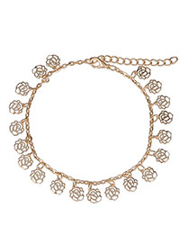 Hot Sale Gold Color Rose Shape Decorated Hollow Out Design Alloy Fashion Anklets