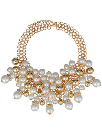 Sweet Gold Color & White Pearl Decorated Simple Design