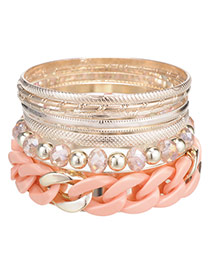 Vogue Pink Chain Decorated Multilayer Design Alloy Fashion Bangles