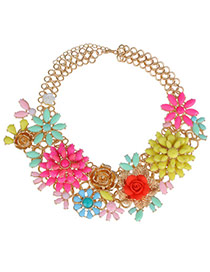 Extravagant Yellow+plum Red Rose Flower Decorated Simple Design Alloy Bib Necklaces