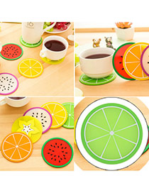 Candy Color  Green Fruit Pattern Coaster Simple Design  Silica Gel Household goods