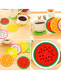 Candy Color Red Fruit Pattern Coaster Simple Design Silica Gel Household goods