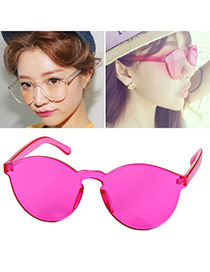 High-quality Plum Red Frameless Pure Color Simple Design Alloy Women Sunglasses