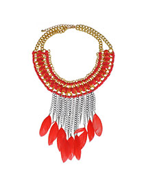 Bardian Watermelon Red Feather Decorated Tassel Weave Design Alloy Bib Necklaces