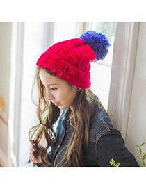 Fashion Red Ball Decorated Twist Simple Design Wool Knitting Wool Hats