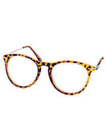 Personality Leopard Leopard Print Decorated Round Frame Design  Alloy Fashon Glasses
